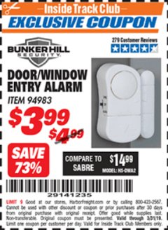 Harbor Freight ITC Coupon DOOR/WINDOW ENTRY ALARM Lot No. 94983 Expired: 3/31/19 - $3.99