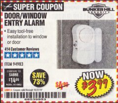 Harbor Freight Coupon DOOR/WINDOW ENTRY ALARM Lot No. 94983 Expired: 10/31/19 - $3.99