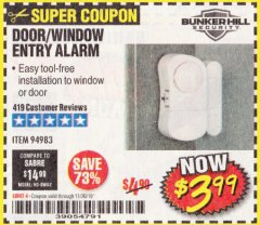 Harbor Freight Coupon DOOR/WINDOW ENTRY ALARM Lot No. 94983 Expired: 11/30/19 - $3.99