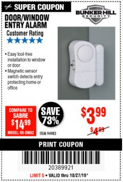 Harbor Freight Coupon DOOR/WINDOW ENTRY ALARM Lot No. 94983 Expired: 10/27/19 - $3.99