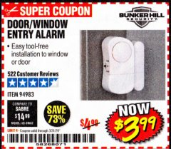 Harbor Freight Coupon DOOR/WINDOW ENTRY ALARM Lot No. 94983 Expired: 3/31/20 - $3.99
