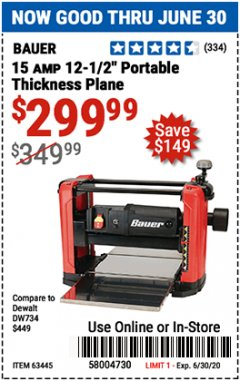 "Harbor Freight Coupon 15 AMP 12 1/2"" PORTABLE THICKNESS PLANER Lot No. 63445 EXPIRES: 6/30/20 - $299.99"