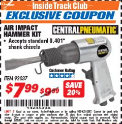 Harbor Freight ITC Coupon AIR IMPACT HAMMER KIT Lot No. 92037 Expired: 5/31/18 - $7.99