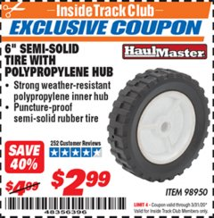 "Harbor Freight ITC Coupon 6"" SEMI-SOLID TIRE WITH POLYPROPYLENE HUB Lot No. 98950 Expired: 3/31/20 - $2.99"