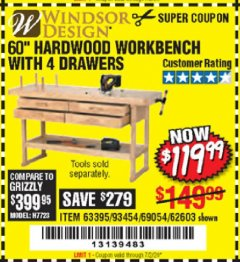 "Harbor Freight Coupon 60"" HARDWOOD WORKBENCH WITH 4 DRAWERS Lot No. 63395/93454/69054/62603 Expired: 7/2/20 - $119.99"