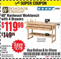 "Harbor Freight Coupon 60"" HARDWOOD WORKBENCH WITH 4 DRAWERS Lot No. 63395/93454/69054/62603 Expired: 9/21/20 - $119.99"