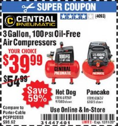 Harbor Freight Coupon 3 GALLON, 100PSI OIL-FREE AIR COMPRESSORS Lot No. 69269/97080/60637/61615/95275 Valid Thru: 12/11/20 - $39.99