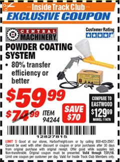 Harbor Freight ITC Coupon POWDER COATING SYSTEM Lot No. 94244 Expired: 7/31/18 - $59.99