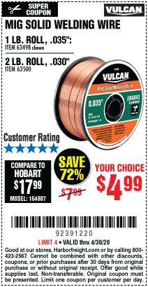 Harbor Freight Coupon VULCAN MIG SOLID WELDING WIRE Lot No. 63498/63500 EXPIRES: 6/30/20 - $4.99