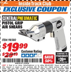 Harbor Freight ITC Coupon PISTOL GRIP AIR SHEARS Lot No. 98580 Expired: 11/30/18 - $19.99
