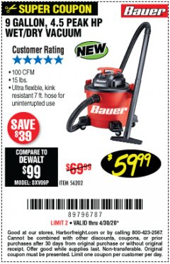 Harbor Freight Coupon 9 GALLON, 4.5 PEAK HP WET/DRY VACUUM Lot No. 56202 Valid Thru: 6/30/20 - $59.99