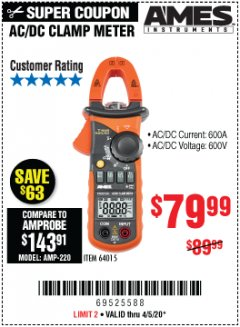 Harbor Freight Coupon AC/DC CLAMP METER Lot No. 64015 EXPIRES: 6/30/20 - $79.99