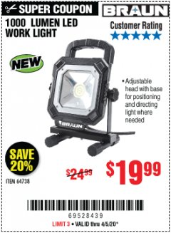 Harbor Freight Coupon 1000 LUMEN LED WORK LIGHT Lot No. 64738 EXPIRES: 6/30/20 - $19.99