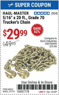 Harbor Freight Coupon TRUCKER'S CHAIN Lot No. 60667, 40461, 97712 EXPIRES: 7/5/20 - $29.99
