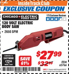 Harbor Freight ITC Coupon 120 VOLT ELECTRIC BODY SAW Lot No. 65766 Expired: 9/30/19 - $27.99