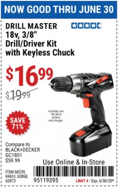 "Harbor Freight Coupon 18V, 3/8"" CORDLESS DRILL/DRIVER KIT WITH KEYLESS CHUCK Lot No. 68239/69651/62868/62873 EXPIRES: 6/30/20 - $16.99"