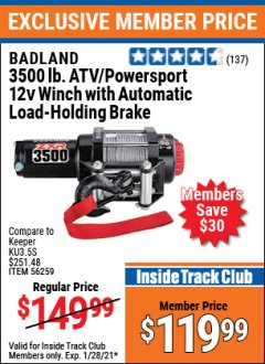 Harbor Freight ITC Coupon 3500 LB. ATV/POWERSPORT 12V WINCH WITH AUTOMATIC LOAD-HOLDING BRAKE Lot No. 56528/56259 Valid: 1/9/21 1/28/21 - $119.99