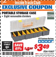 Harbor Freight ITC Coupon PORTABLE STORAGE CASE Lot No. 95807 Expired: 4/30/20 - $3.49