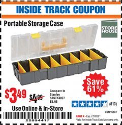 Harbor Freight ITC Coupon PORTABLE STORAGE CASE Lot No. 95807 Expired: 7/31/20 - $3.49