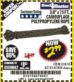 "Harbor Freight Coupon 3/8"" X 75FT. CAMOUFLAGE POLYPROPYLENE ROPE Lot No. 61674/62761/47835 EXPIRES: 6/30/20 - $2.99"