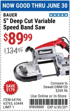 "Harbor Freight Coupon 5"" DEEP CUT VARIABLE SPEED BAND SAW Lot No. 64194/63763/63444 Expired: 6/30/20 - $89.99"