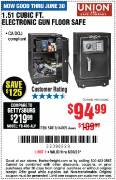 Harbor Freight Coupon 1.51 CUBIC FT. ELECTRONIC GUN FLOOR SAFE Lot No. 64010/64009 EXPIRES: 6/30/20 - $94.99