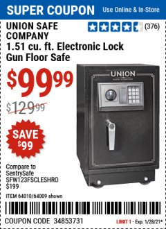 Harbor Freight Coupon 1.51 CUBIC FT. ELECTRONIC GUN FLOOR SAFE Lot No. 64010/64009 Valid: 1/12/21 1/28/21 - $99.99