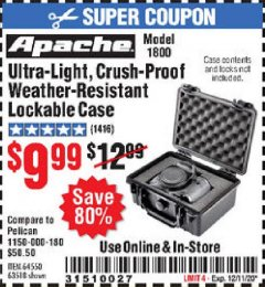 Harbor Freight Coupon ULTRA-LIGHT, CRUSH-PROOF, WEATHER-RESISTANT LOCKABLE CASE Lot No. 64550/63518 Valid Thru: 12/11/20 - $9.99