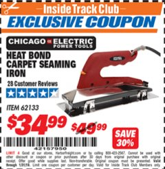 Harbor Freight ITC Coupon HEAT BOND CARPET SEAMING IRON Lot No. 62133/66738 Expired: 1/31/19 - $34.99