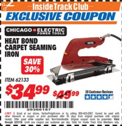 Harbor Freight ITC Coupon HEAT BOND CARPET SEAMING IRON Lot No. 62133/66738 Expired: 3/31/19 - $34.99