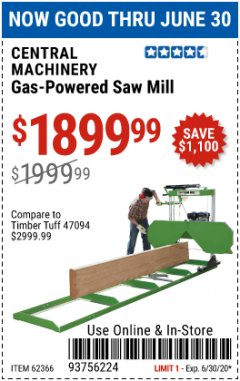 Harbor Freight Coupon CENTRAL MACHINERY GAS-POWERED SAW MILL Lot No. 62366 EXPIRES: 6/30/20 - $1899.99