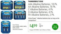 Harbor Freight Coupon THUNDERBOLT EDGE AAA ALKALINE BATTERIES, 18 PK. AA ALKALINE BATTERIES, 18 PK. C ALKALINE BATTERIES, 4 PK. D ALKALINE BATTERIES, 4 PK. 9V ALKALINE BATTEIRES, 2 PK. Lot No. 64489/64490/64492/64491/64493 EXPIRES: 6/30/20 - $4.99