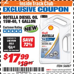 Harbor Freight ITC Coupon ROTELLA DIESEL OIL 15W-40, 1 GALLON Lot No. 56887 Dates Valid: 12/31/69 - 6/30/20 - $17.99
