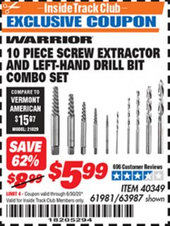 Harbor Freight ITC Coupon 10 PIECE SCREW EXTRACTOR AND LEFT-HAND DRILL BIT COMBO SET Lot No. 40349/61981/63987 Dates Valid: 12/31/69 - 6/30/20 - $5.99