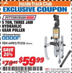Harbor Freight ITC Coupon 5 TON, THREE JAW HYDRAULIC GEAR PULLER Lot No. 64983/95326 Dates Valid: 12/31/69 - 6/30/20 - $59.99
