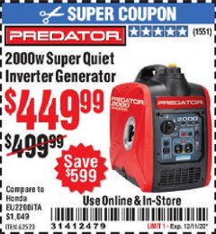 Harbor Freight Coupon 2000W SUPER QUIET INVERTER GENERATOR Lot No. 62523 Valid Thru: 12/11/20 - $449.99