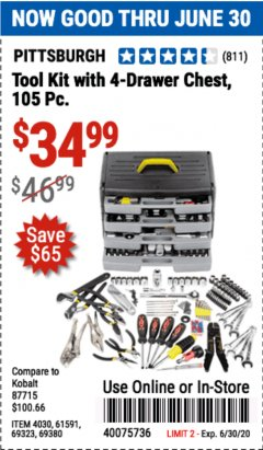 Harbor Freight Coupon PITTSBURGH TOOL KIT WITH 4 DRAWER CHEST Lot No. 4030,61591,69323,69380 EXPIRES: 6/30/20 - $34.99