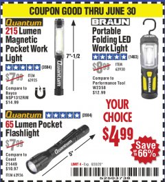 Harbor Freight Coupon FLASHLIGHTS Lot No. 63936, 63935, 63930 EXPIRES: 6/30/20 - $4.99