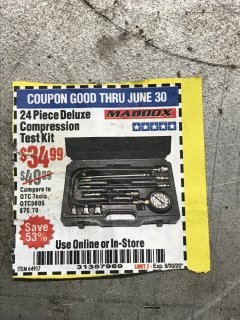 Harbor Freight Coupon MADDOX 24 PIECE DELUXE COMPRESSION TEST KIT Lot No. 64917 EXPIRES: 6/30/20 - $34.99