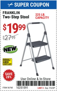 Harbor Freight Coupon FRANKLIN TWO-STEP STOOL Lot No. 56760 EXPIRES: 7/5/20 - $19.99