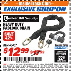 Harbor Freight ITC Coupon HEAVY DUTY PADLOCK CHAIN Lot No. 66067 Expired: 7/31/18 - $12.99