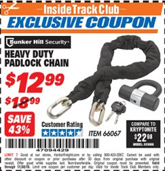 Harbor Freight ITC Coupon HEAVY DUTY PADLOCK CHAIN Lot No. 66067 Expired: 11/30/18 - $12.99