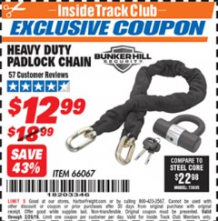 Harbor Freight ITC Coupon HEAVY DUTY PADLOCK CHAIN Lot No. 66067 Expired: 2/28/19 - $12.99