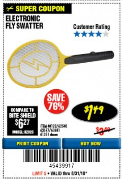 Harbor Freight Coupon ELECTRIC FLY SWATTER Lot No. 61351/40122/62540/62577 Expired: 8/31/18 - $1.49