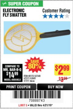 Harbor Freight Coupon ELECTRIC FLY SWATTER Lot No. 61351/40122/62540/62577 Expired: 4/21/19 - $2.99