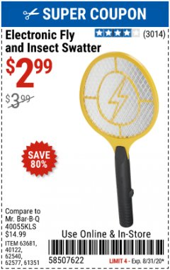 Harbor Freight Coupon ELECTRIC FLY SWATTER Lot No. 61351/40122/62540/62577 Expired: 8/31/20 - $2.99