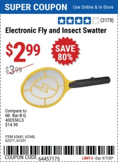 Harbor Freight Coupon ELECTRIC FLY SWATTER Lot No. 61351/40122/62540/62577 Expired: 9/7/20 - $2.99