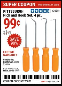 Harbor Freight Coupon PITTSBURGH 4 PIECE PICK AND HOOK SET Lot No. 34328, 66836, 63765, 63697 Valid Thru: 10/31/20 - $0.99