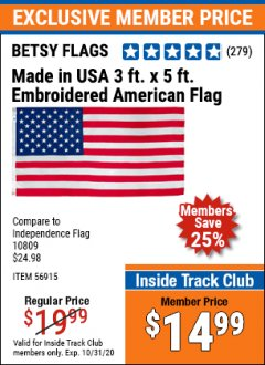 Harbor Freight ITC Coupon 3 FT X 5 FT AMERICAN FLAG WITH EMBROIDERED STARS Lot No. 56915 Expired: 10/31/20 - $14.99