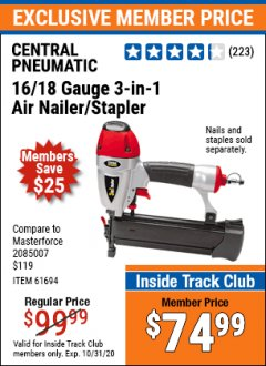 Harbor Freight ITC Coupon 16/18 GAUGE 3-IN-1 NAILER/STAPLER Lot No. 61809/61694/68057 Expired: 10/31/20 - $74.99